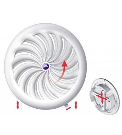 Mřížka větrací,plastová,bílá,kulatá,vějířové žebrování se síťkou,vývod,O 180/100-150mm 600847