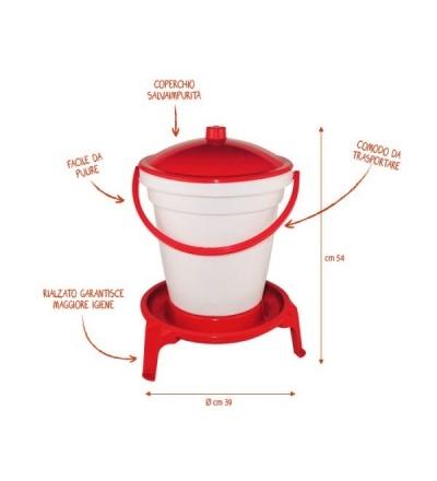 Napáječka plastová, kbelíková, na podstavci, s plovákem, pro drůbež, 18l 308061