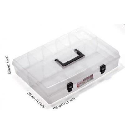 Organizér plastový, nun, přepážkový systém, průhledný, 400 x 298 x 85 mm 600344