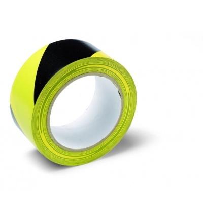 Páska výstražná, lepící, PVC, černo – žlutá, 50 mm x 33 m 701303