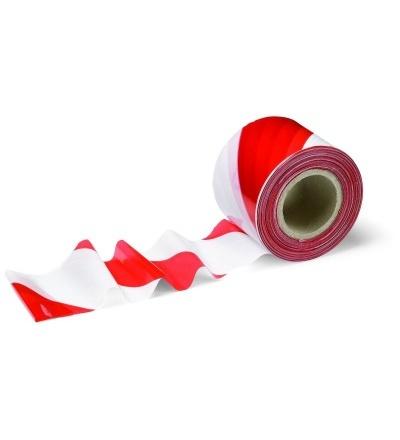Páska výstražná, nelepící, červeno – bílá, 80 mm x 100 m 701301