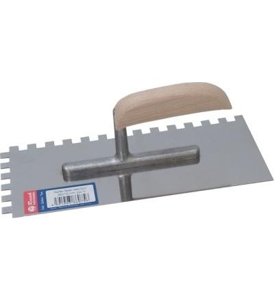 Racek hladítko, nerezové, EURO, zub 6 mm, s dřevěnou rukojetí, 280 x 130 mm 806073