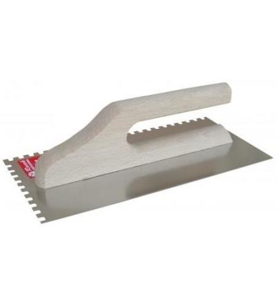 Racek hladítko, nerezové, zub 6 mm, s dřevěnou rukojetí, 280 x 130 mm 806053