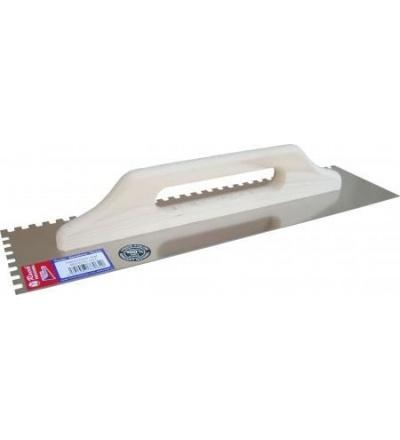 Racek hladítko, nerezové, zub 8 mm, s dřevěnou rukojetí, 490 x 130 mm 806064