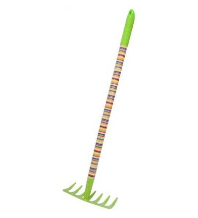 REFLEX dětské zahradní nářadí kovové - hrábě 7 zubů, dlouhá násada, 63 cm 307184
