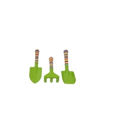 REFLEX dětské zahradní nářadí kovové - rýček, lopatka, hrábě, krátká násada, sada 3ks  307180
