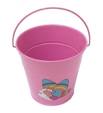 REFLEX dětské zahradní nářadí - vědro, kovové, růžové, 1,2 l 307187