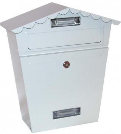 Schránka poštovní,bílá,s dvířky,štítkem,čelním košem a špičatou stříškou,290x360x105mm 502512