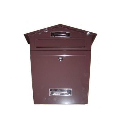 Schránka poštovní,hnědá,s dvířky,štítkem,čelním košem a špičatou stříškou,290x360x105mm 502506