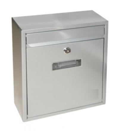 Schránka poštovní, kovová, bílá, s dvířky, štítkem a čelním košem, 310 x 260 x 90 mm 502508