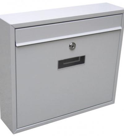 Schránka poštovní, kovová, bílá, s dvířky, štítkem a čelním košem, 310 x 360 x 90 mm 502509