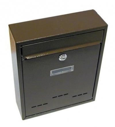 Schránka poštovní, kovová,hnědá, s dvířky, štítkem a čelním košem, 310 x 260 x 90 mm 502502