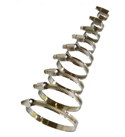 Spona nerezová, hadicová, sada 10 ks, 50 – 70 mm 400312
