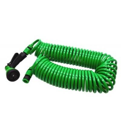 TOPTRADE hadice zahradní, spirálová,pistole plastová–rozstřikovač,7 funkcí,na rychlospojky,sada,30m 900397