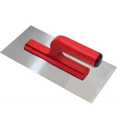 TOPTRADE hladítko nerezové, hladké, s otevřenou rukojetí 270 x 130 mm 109051