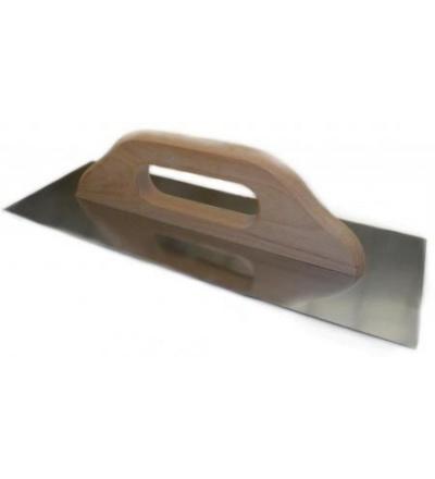 TOPTRADE hladítko nerezové, s dřevěnou rukojetí, hladké, 360 x 130 mm 109112