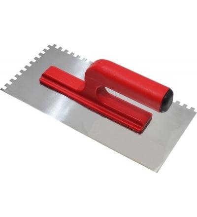 TOPTRADE hladítko nerezové, s otevřenou rukojetí, zub 10 mm, 270 x 130 mm 109055
