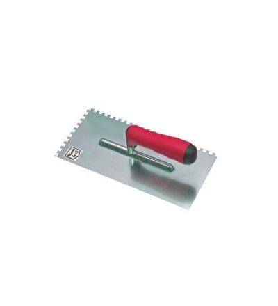 TOPTRADE hladítko nerezové, s pogumovanou rukojetí, zub 10 mm, 270 x 130 mm, profi 109075