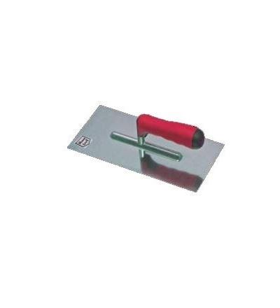 TOPTRADE hladítko nerezové, s pogumovanou rukojetí, zub 12 mm, 270 x 130 mm, profi 109076