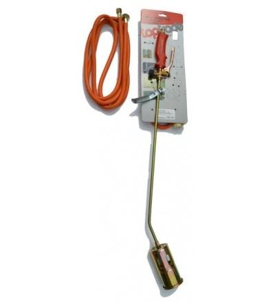 TOPTRADE hořák PB, s hadicí 3 m, regulátorem tlaku a směšovací komorou, 60 mm x 850 mm, profi 706002