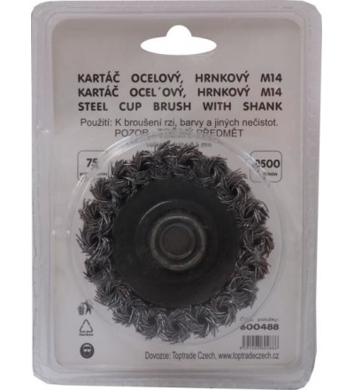 TOPTRADE kartáč ocelový, hrnkový, copy, M14, O 90 mm 600489
