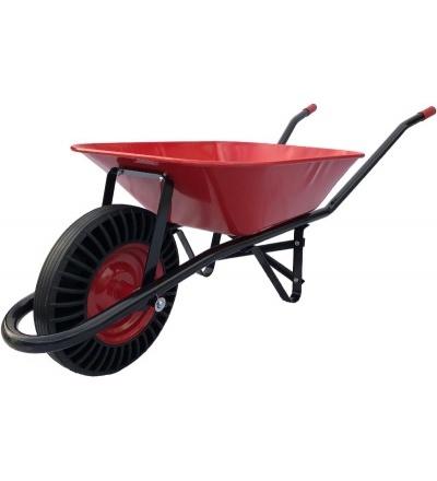 TOPTRADE kolečko stavební červenočerné, rozložené, tažená korba, kolo bantam, 60L 105611