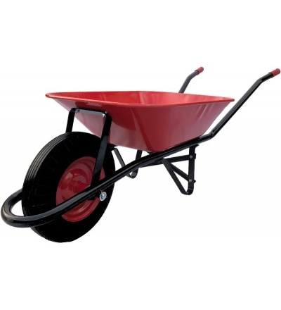 TOPTRADE kolečko stavební červenočerné, složené, tažená korba 60L, nafukovací kolo 105626