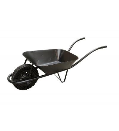 TOPTRADE kolečko stavební, plechové, černé, kolo nafukovací, 60 l 105302