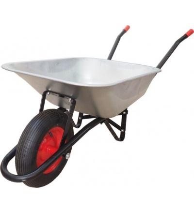 TOPTRADE kolečko stavební, tažená korba pozink, nafukovací kolo, 80L 105606
