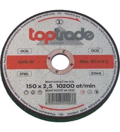 TOPTRADE kotouč brusný, na kov, 125 x 22,2 x 6,5 mm, standard 501156