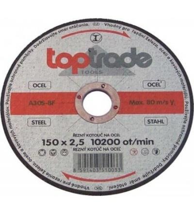 TOPTRADE kotouč řezný, na kov, 115 x 22,2 x 2 mm, standard 501190