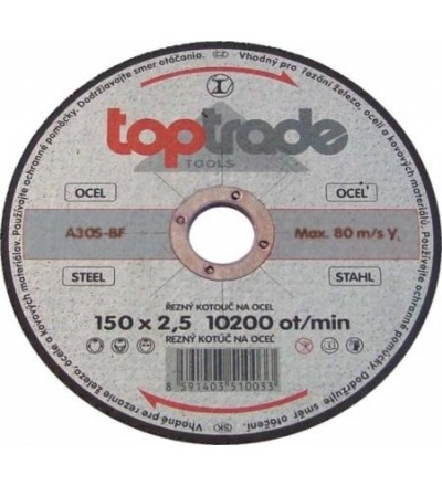 TOPTRADE kotouč řezný, na kov, 150 x 22,2 x 2,5 mm, hobby 501152