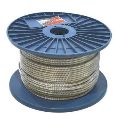 TOPTRADE lano ocelové, pozinkované, na cívce, 7 x 7 drátů, O 4 mm x 100 m 707125