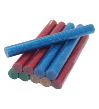 TOPTRADE lepidlo tavné, 4 barvy se třpytkou - červená, žlutá, modrá, zelená 11,2 x 100mm, 10 ks 601108