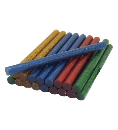 TOPTRADE lepidlo tavné, 4 barvy se třpytkou - červená, žlutá, modrá, zelená 7,5 x 100mm, 20 ks 601107
