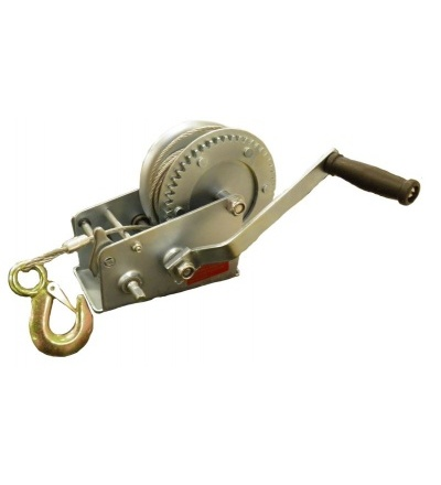 TOPTRADE naviják ruční, hák a lano, O 4,5 mm x 8 m, nosnost 550 kg 707112