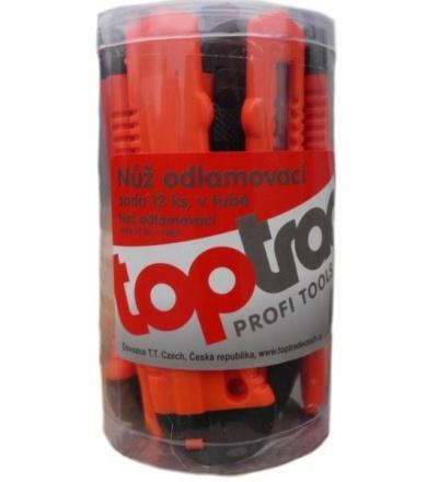 TOPTRADE nůž odlamovací, plastový, bez výztuhy,  v tubě, sada 12 ks, 18 mm 200215