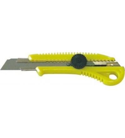 TOPTRADE nůž odlamovací, plastový, s kovovou výztuhou a šroubovou aretací, 18 mm 200207