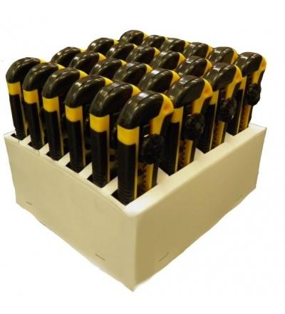 TOPTRADE nůž odlamovací, plastový, v prodejním kartonu, sada 24 ks, 18 mm 200216