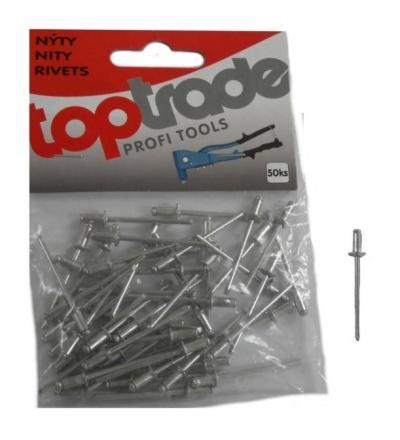 TOPTRADE nýty hliníkové, balení 50 ks, 3,2 x 6 mm 601220