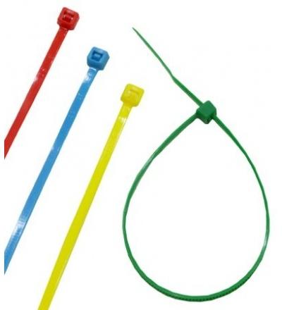 TOPTRADE páska plastová, barevná, stahovací, se zámkem, 100 ks, 150 x 2,5 mm 307020