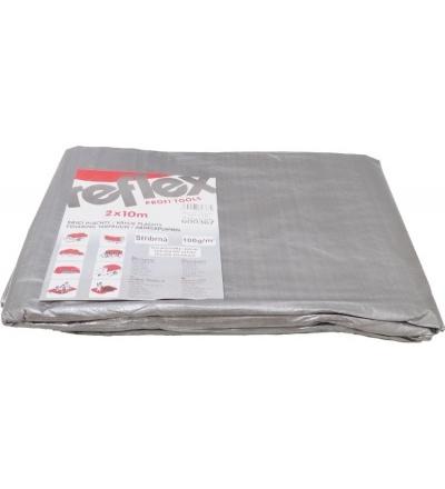 TOPTRADE plachta krycí , stříbrná, s kovovými oky, 6 x 10 m, 100g/m2 600361