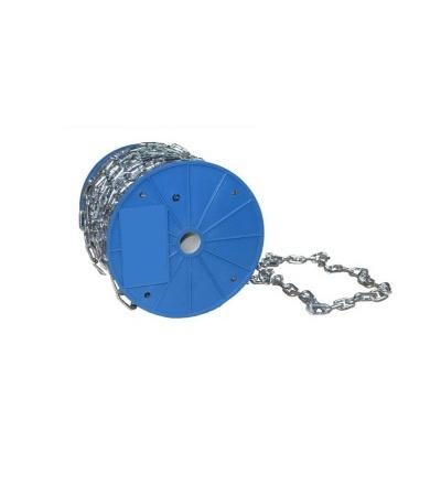 TOPTRADE řetěz nezkoušený, krátké oko, na cívce, 6 mm x 30 m 707005