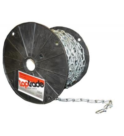 TOPTRADE řetěz uzlový, pozinkovaný, na cívce, 3,1 mm x 30 m 707025
