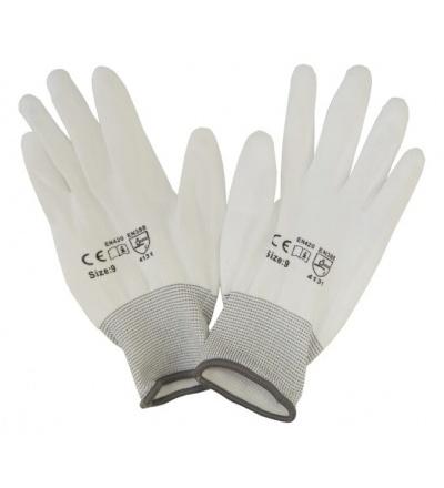 TOPTRADE rukavice polyesterové, s PU dlaní a úpletem 600147