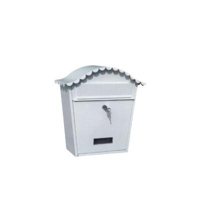 TOPTRADE schránka dopisní,bílá,s dvířky,štítkem,čelním košem a kulatou stříškou,370 x 364 x 134mm 502510