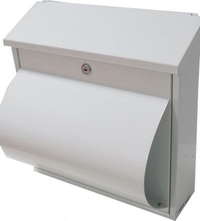 TOPTRADE schránka dopisní,bílá, s dvířky, štítkem, horním košem a boxem na noviny,360x360x100mm 502511