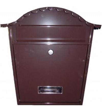 TOPTRADE schránka dopisní,hnědá,s dvířky,štítkem,čelním košem a kulatou stříškou,370 x 364 x 134mm 502504