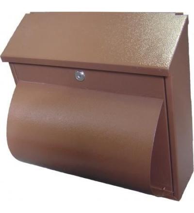 TOPTRADE schránka dopisní,hnědá, s dvířky, štítkem, horním košem a boxem na noviny,360x360x100mm 502505