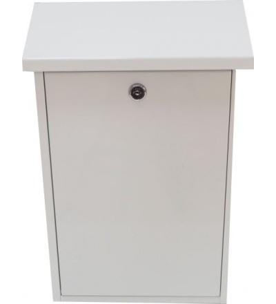 TOPTRADE schránka dopisní, kovová, bílá, s dvířky a horním košem, 390 x 250 x 100 mm 502507